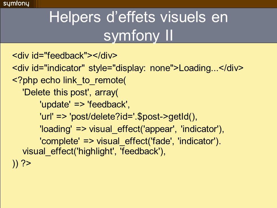Helpers d'effets visuels en symfony II