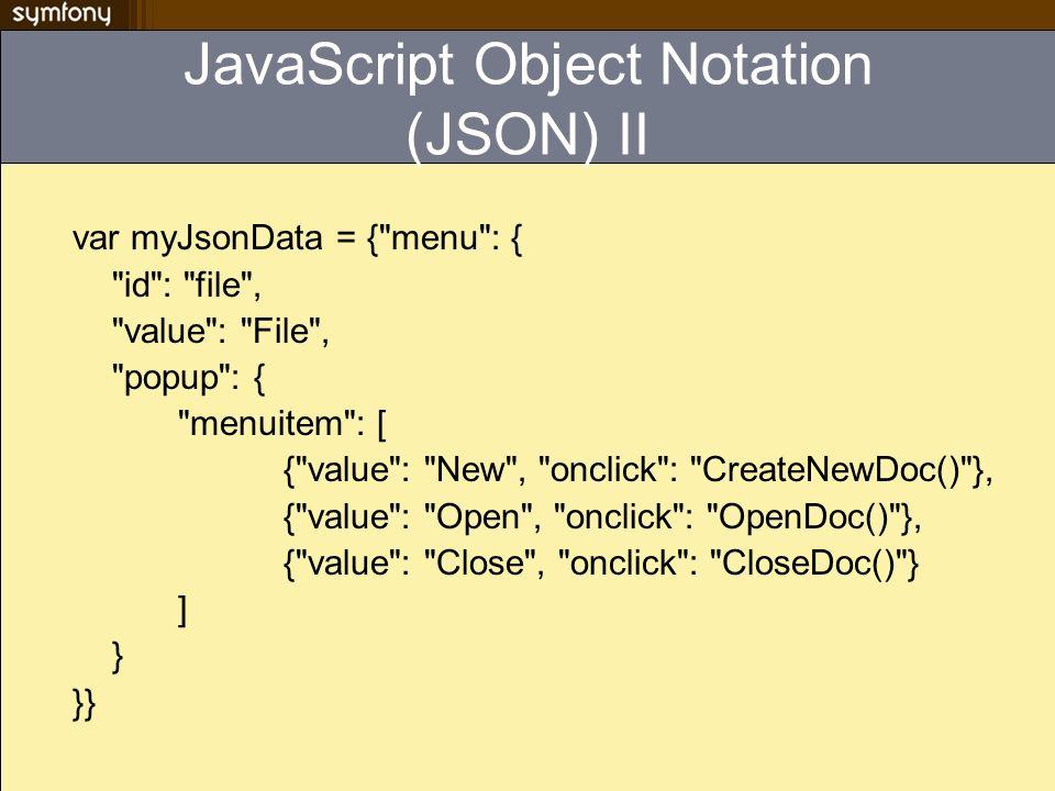 JavaScript Object Notation (JSON) II