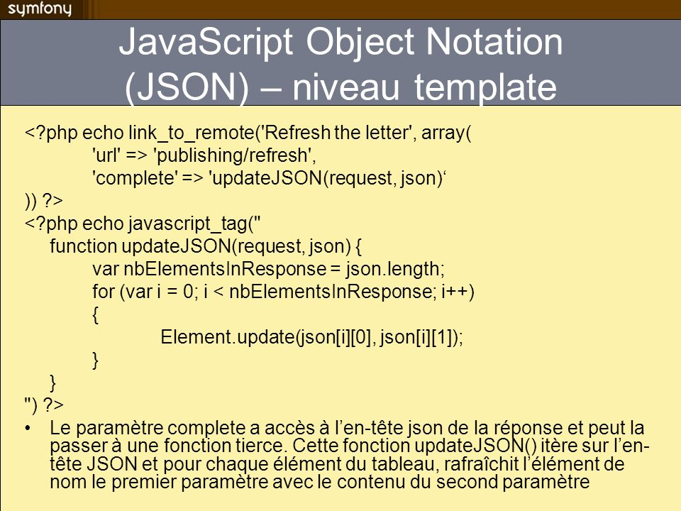 JavaScript Object Notation (JSON) – niveau template