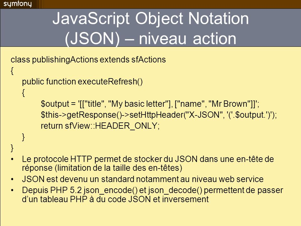 JavaScript Object Notation (JSON) – niveau action