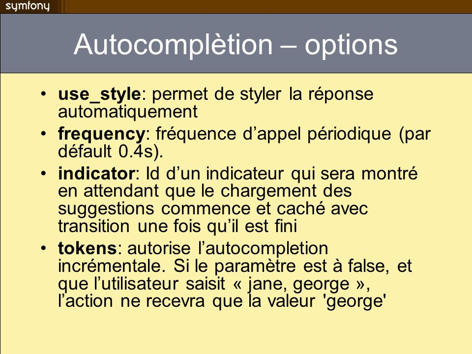Autocomplètion – options