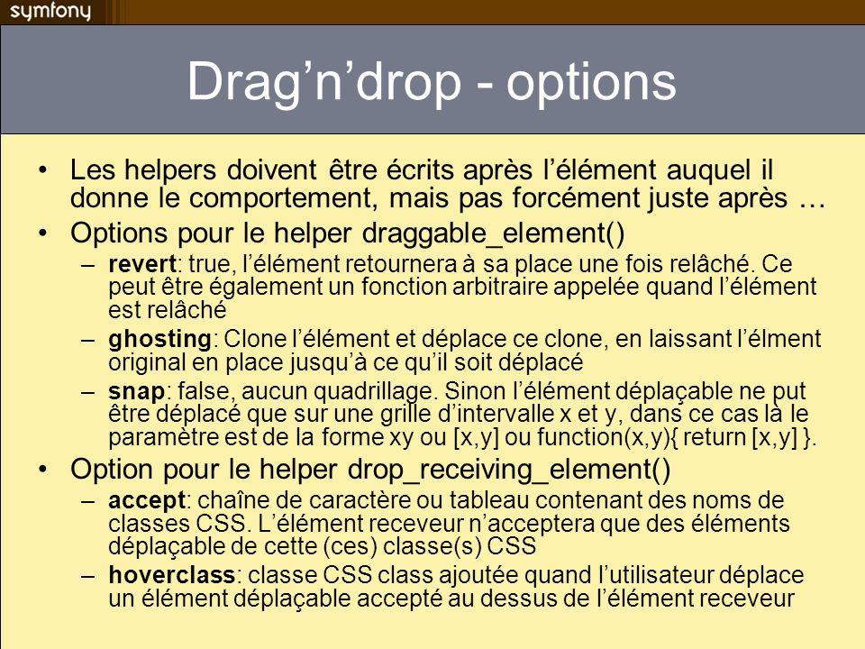 Drag'n'drop - options Les helpers doivent être écrits après l'élément auquel il donne le comportement, mais pas forcément juste après …