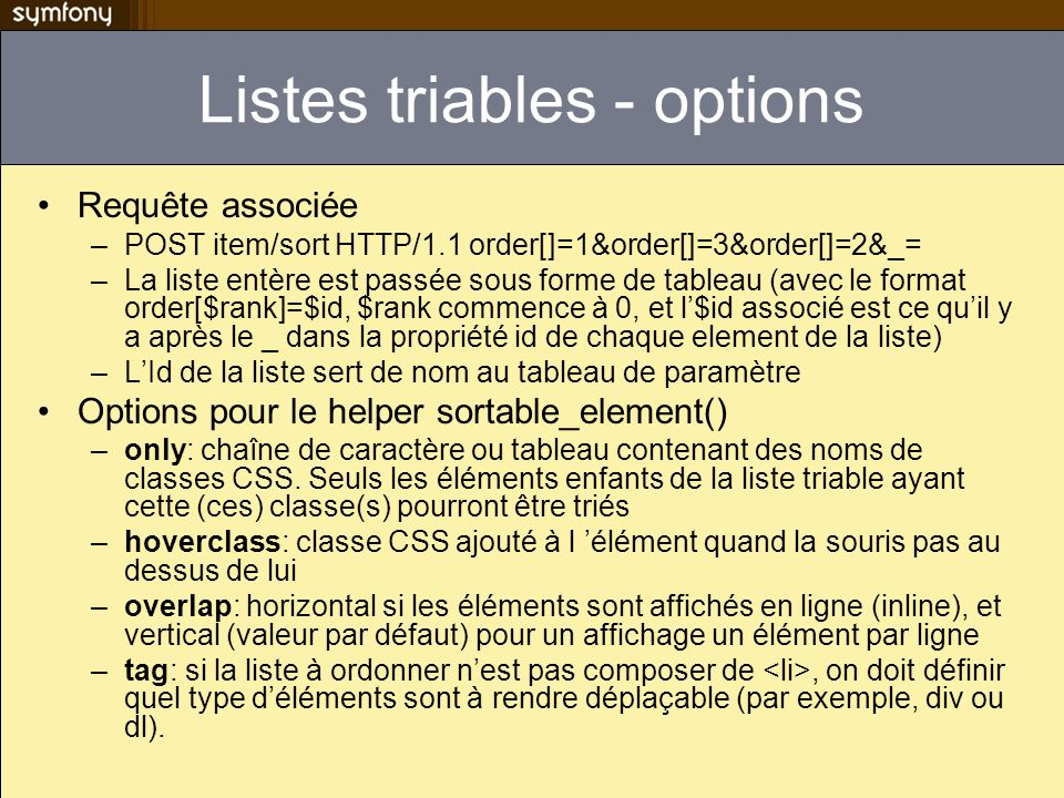 Listes triables - options