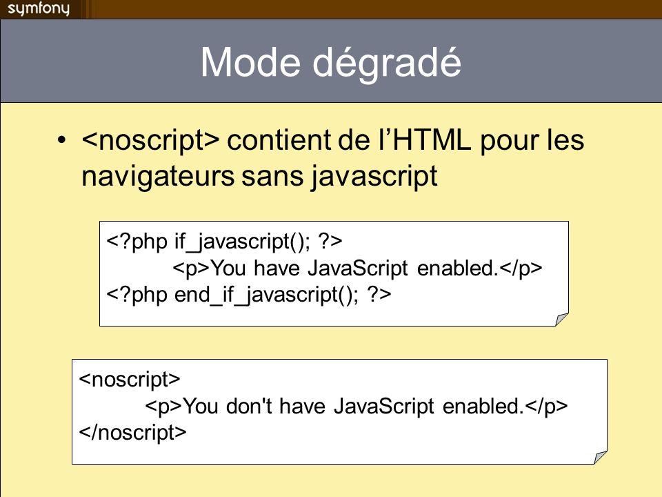 Mode dégradé <noscript> contient de l'HTML pour les navigateurs sans javascript. < php if_javascript(); >