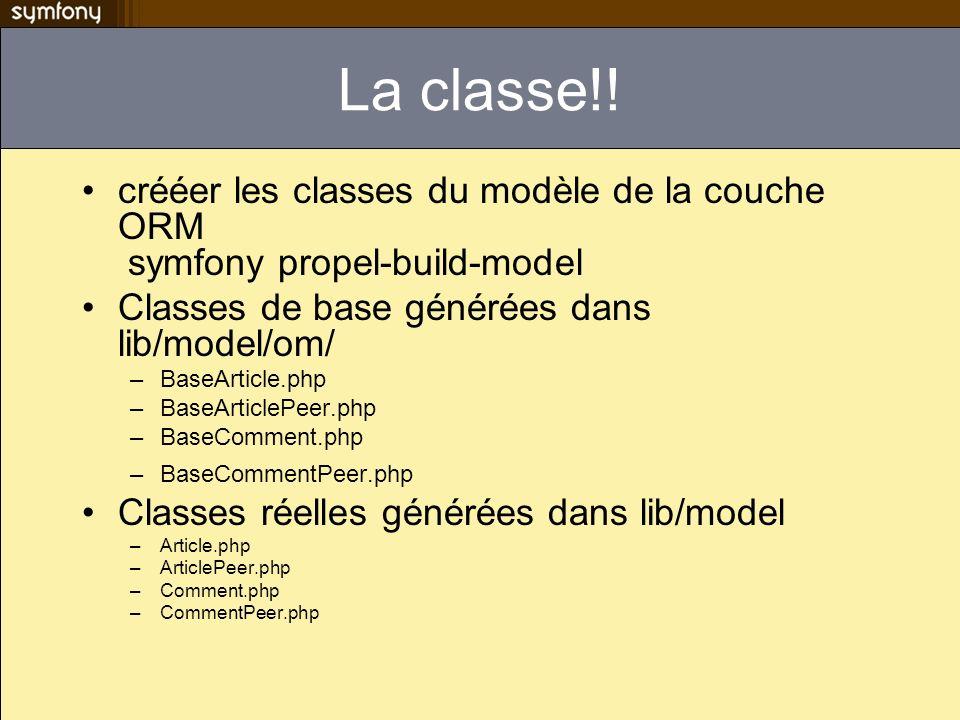 La classe!! crééer les classes du modèle de la couche ORM symfony propel-build-model. Classes de base générées dans lib/model/om/