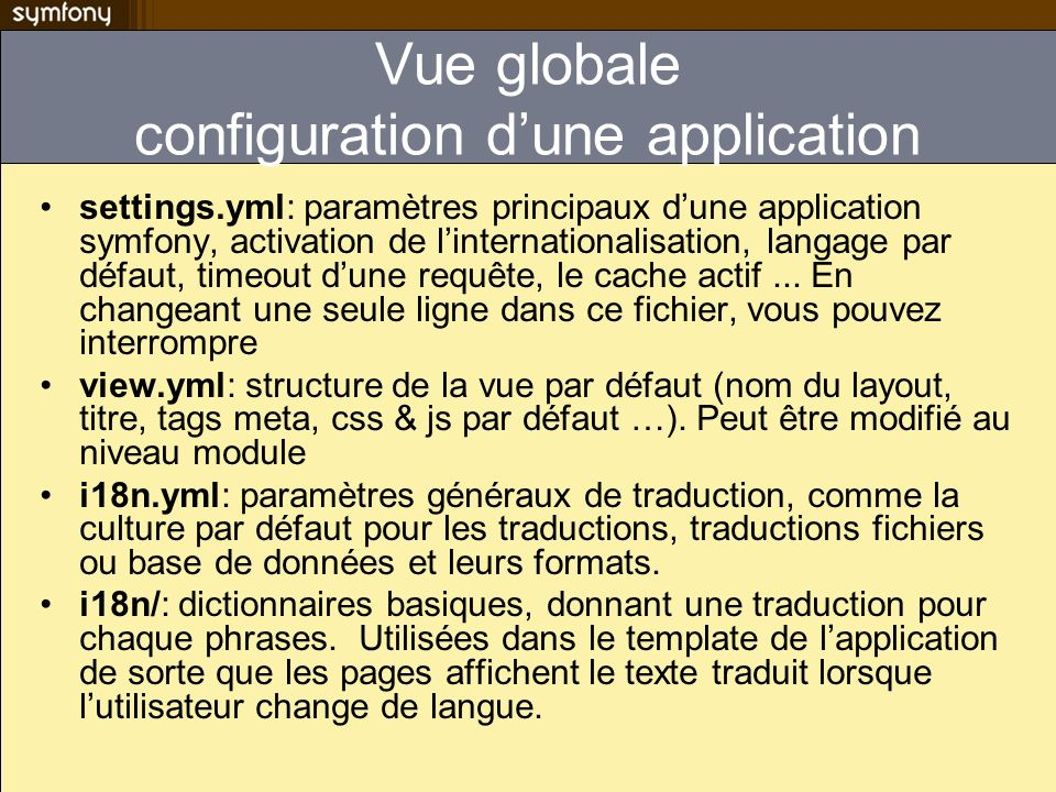 Vue globale configuration d'une application
