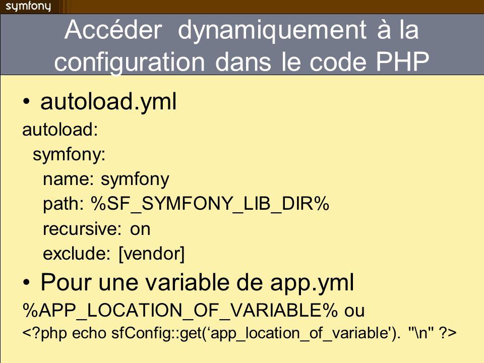 Accéder dynamiquement à la configuration dans le code PHP