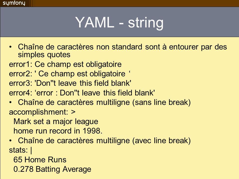 YAML - string Chaîne de caractères non standard sont à entourer par des simples quotes. error1: Ce champ est obligatoire.