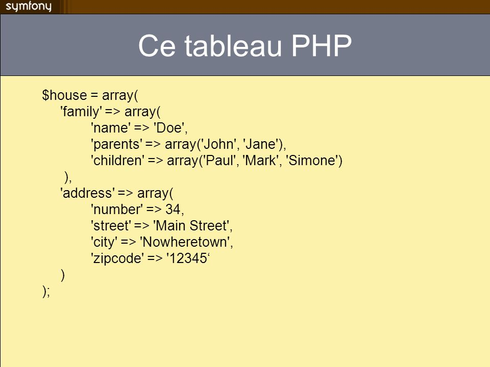 Ce tableau PHP $house = array( family => array(