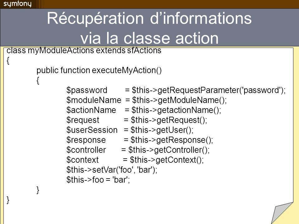 Récupération d'informations via la classe action