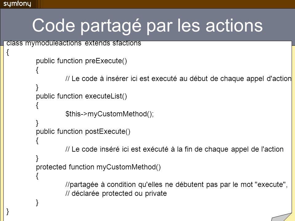 Code partagé par les actions