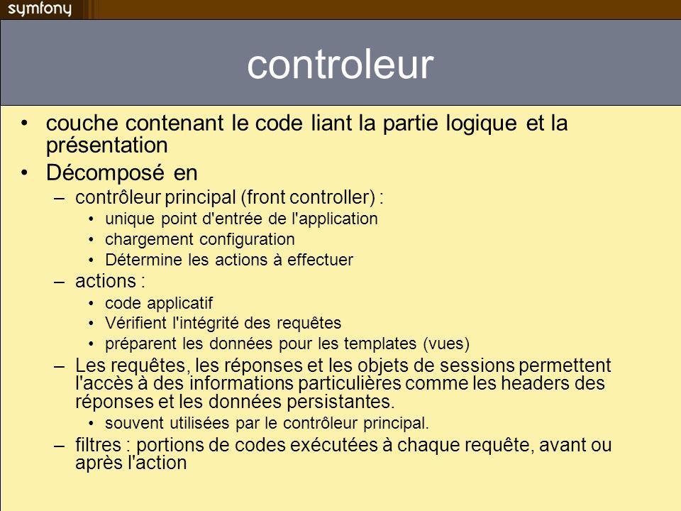 controleur couche contenant le code liant la partie logique et la présentation. Décomposé en. contrôleur principal (front controller) :