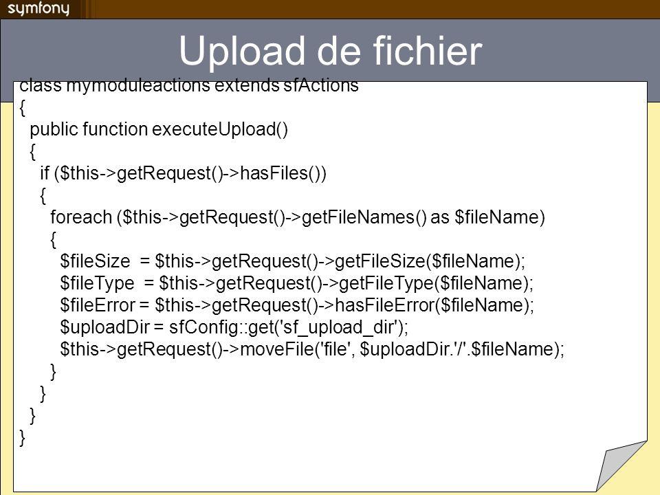 Upload de fichier class mymoduleactions extends sfActions {