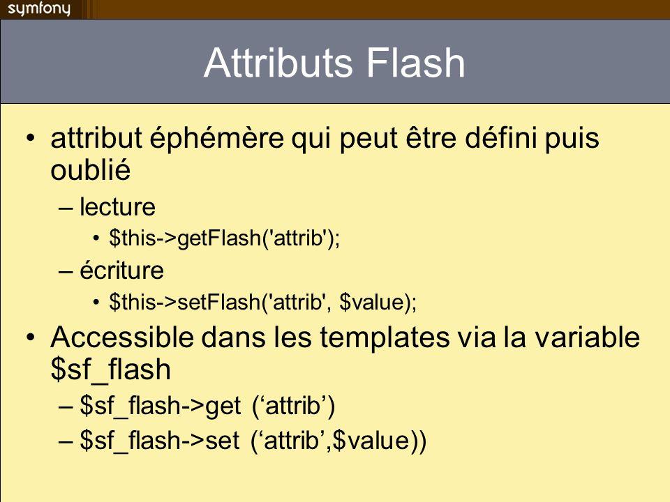 Attributs Flash attribut éphémère qui peut être défini puis oublié