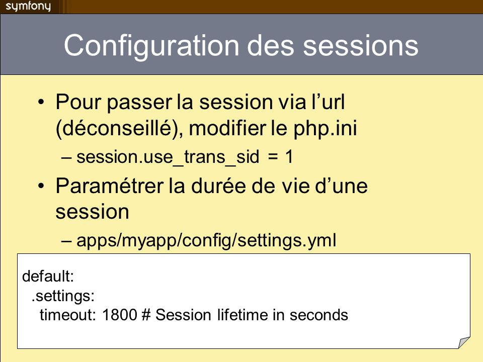 Configuration des sessions