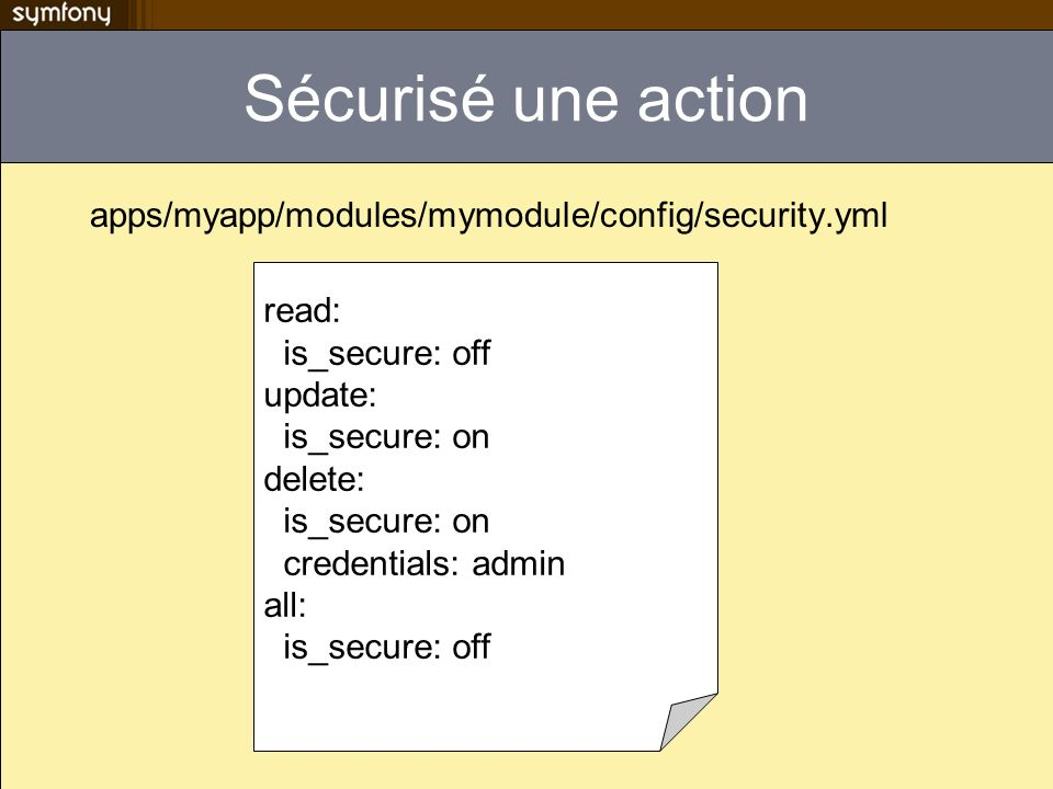 Sécurisé une action apps/myapp/modules/mymodule/config/security.yml