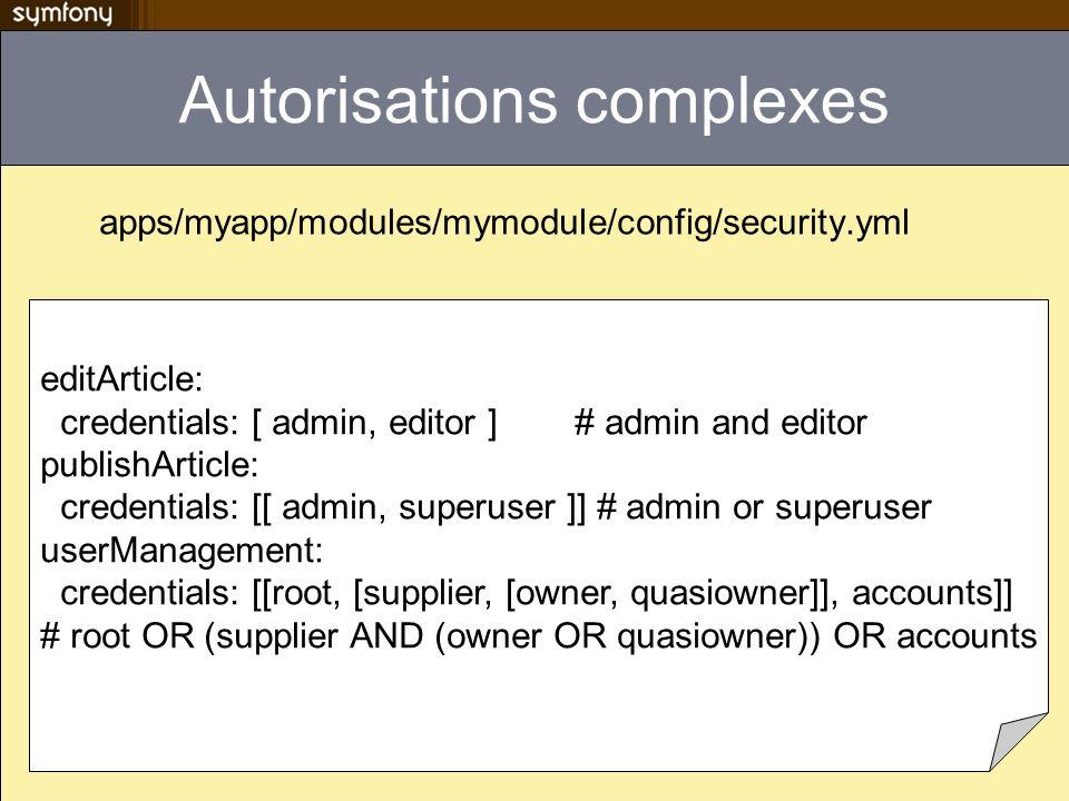 Autorisations complexes
