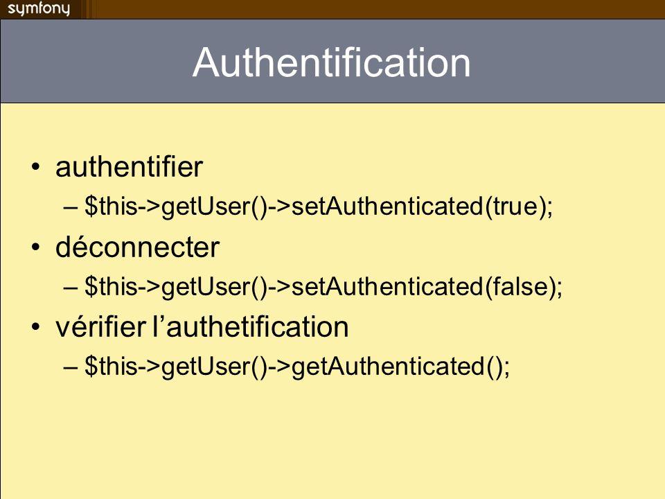 Authentification authentifier déconnecter vérifier l'authetification