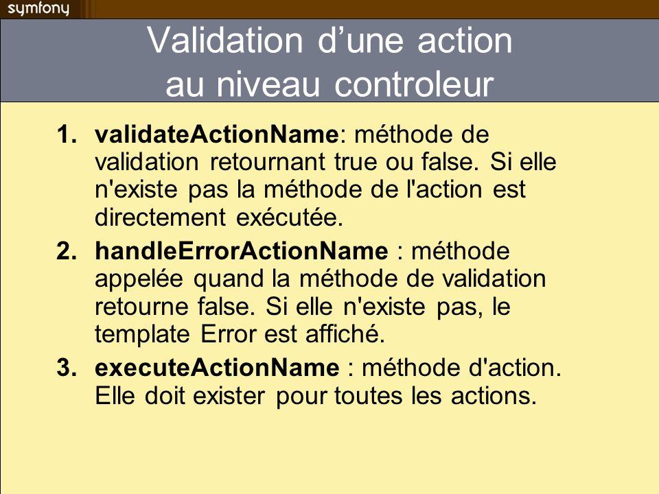 Validation d'une action au niveau controleur