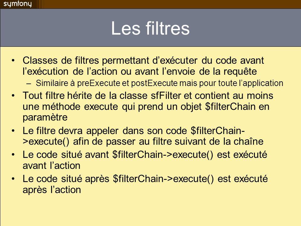 Les filtres Classes de filtres permettant d'exécuter du code avant l'exécution de l'action ou avant l'envoie de la requête.
