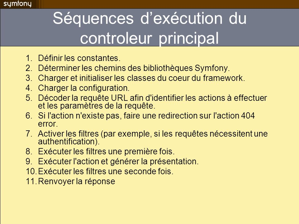 Séquences d'exécution du controleur principal