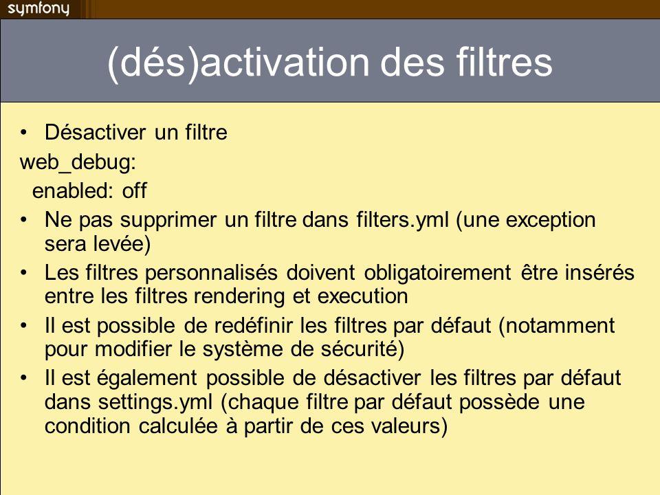 (dés)activation des filtres