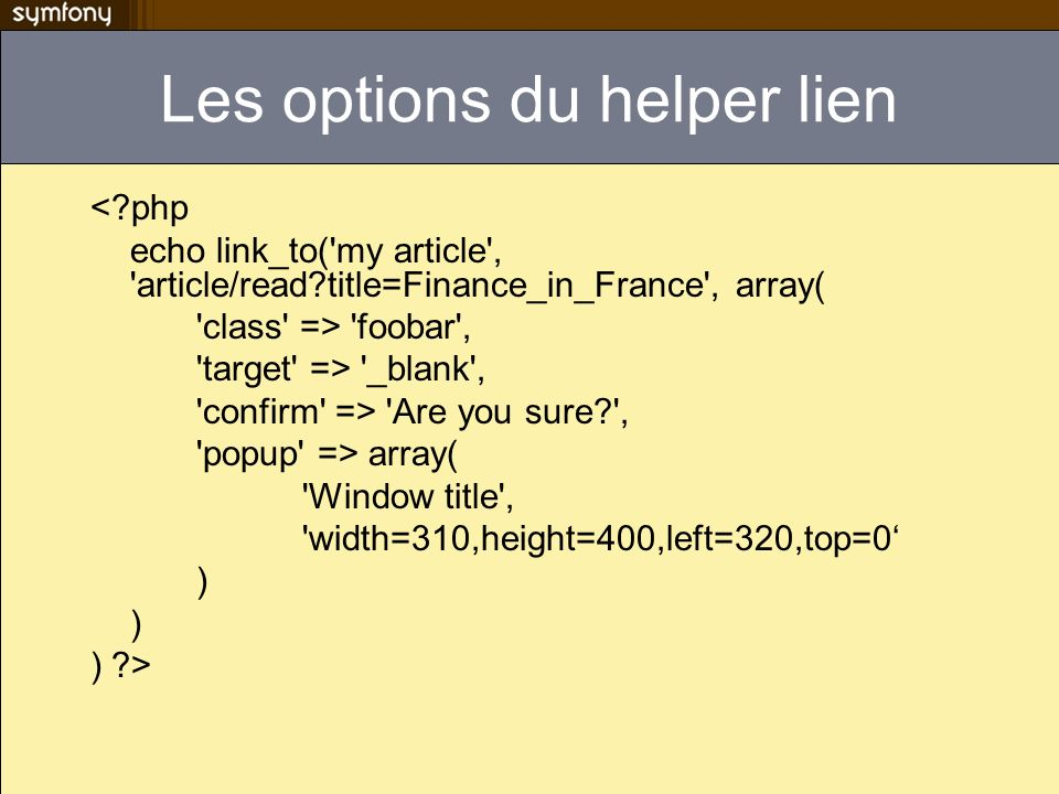 Les options du helper lien