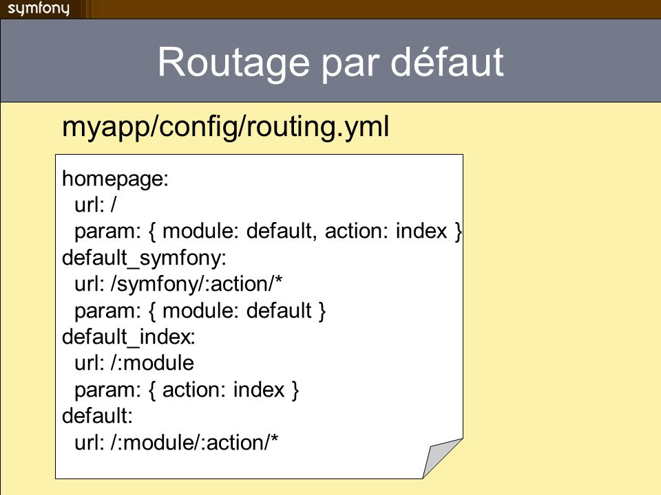 Routage par défaut myapp/config/routing.yml homepage: url: /