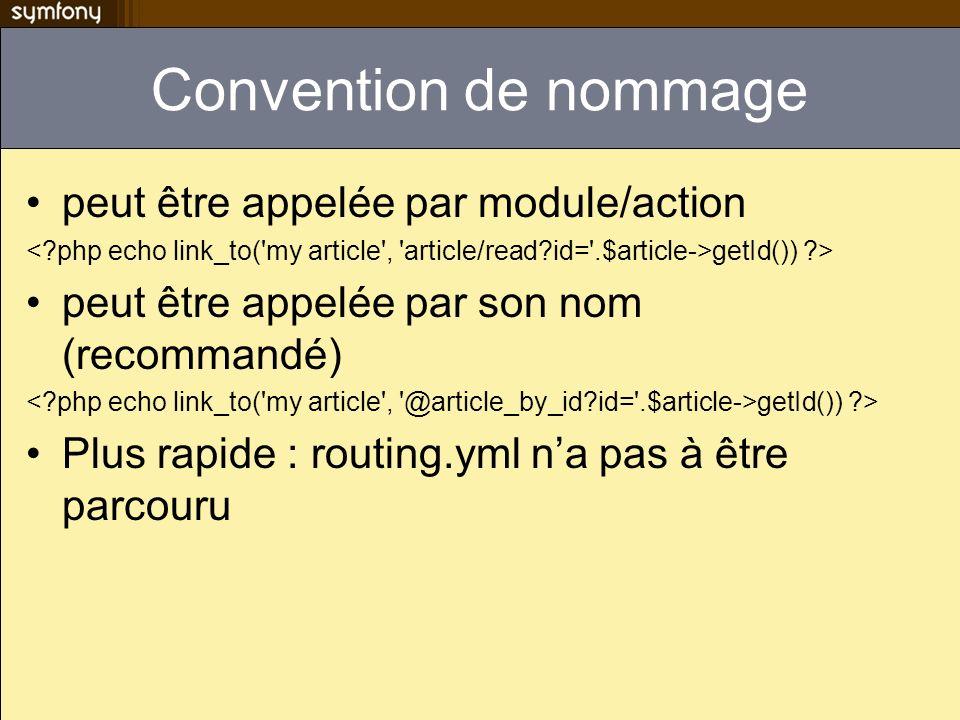 Convention de nommage peut être appelée par module/action