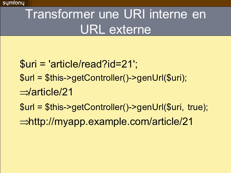 Transformer une URI interne en URL externe