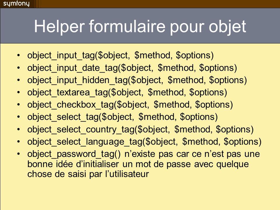 Helper formulaire pour objet