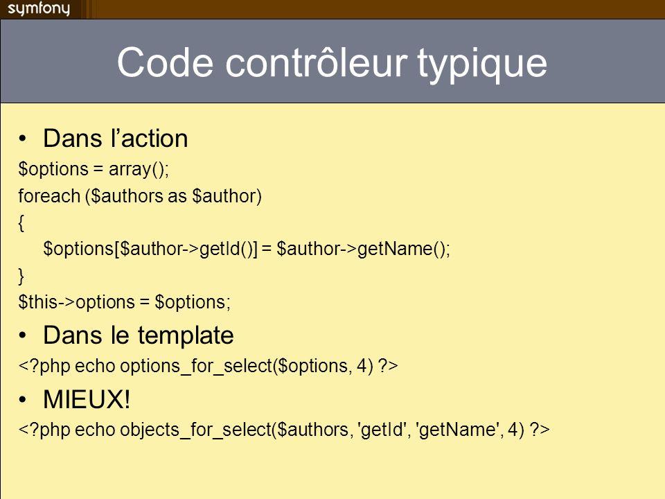 Code contrôleur typique