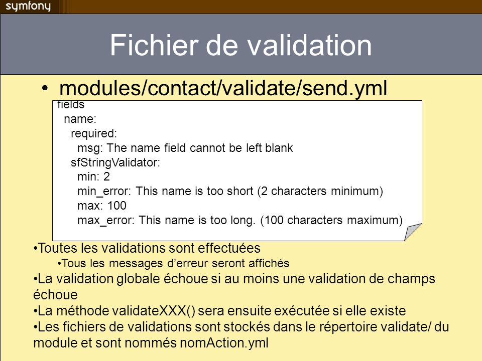 Fichier de validation modules/contact/validate/send.yml