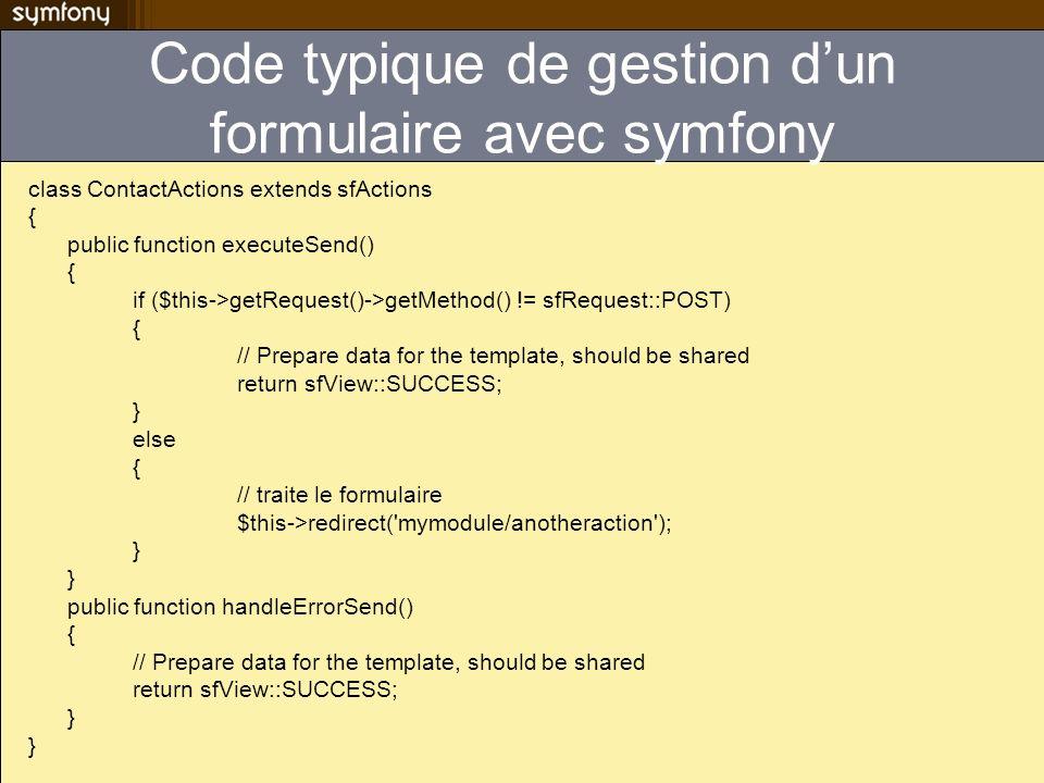 Code typique de gestion d'un formulaire avec symfony