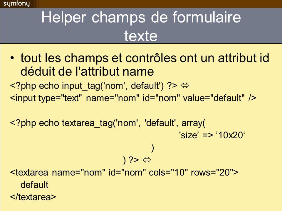 Helper champs de formulaire texte