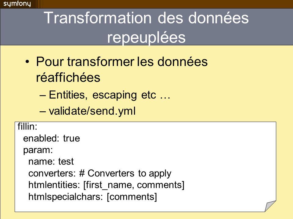Transformation des données repeuplées