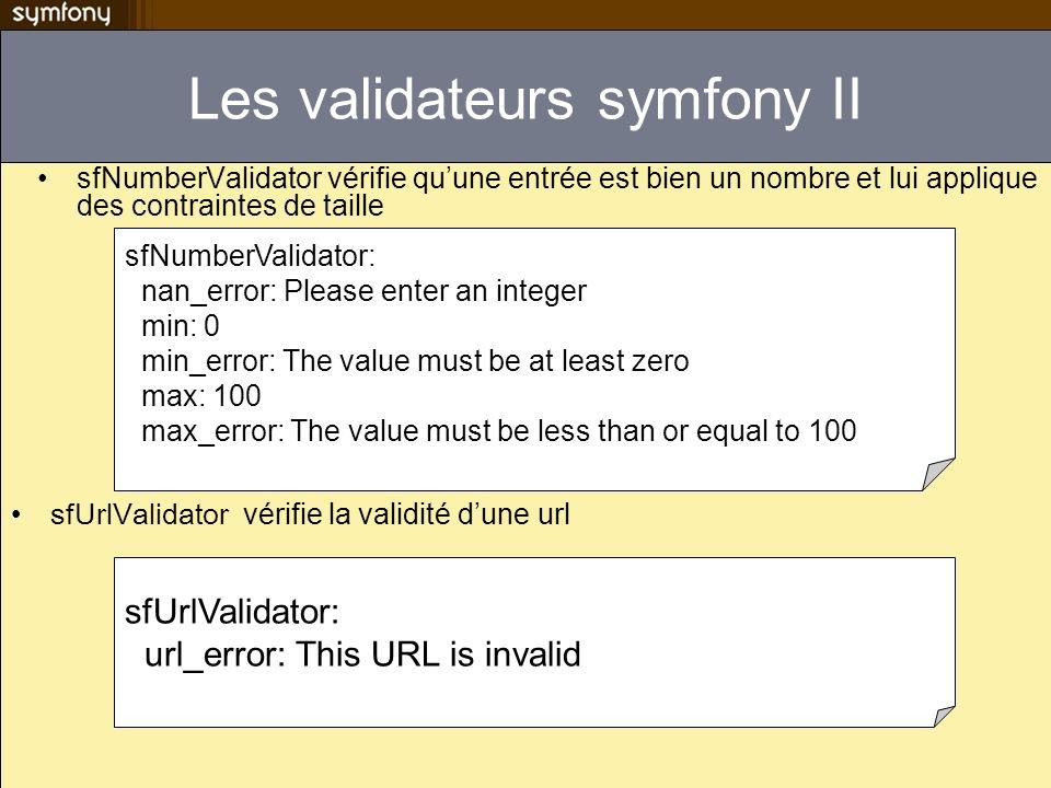 Les validateurs symfony II