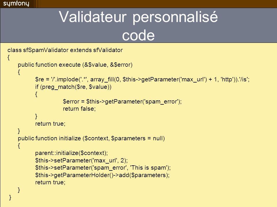 Validateur personnalisé code