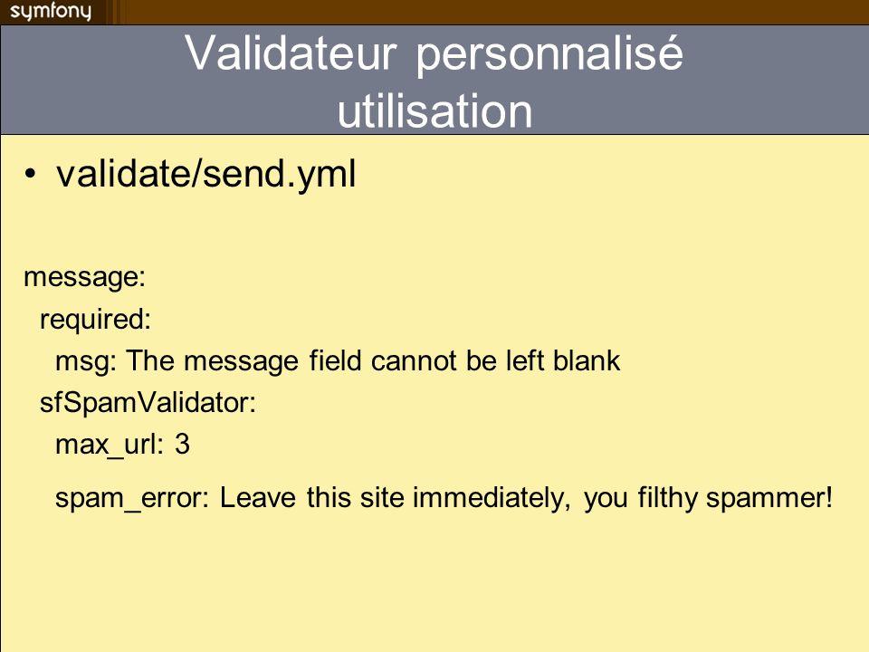 Validateur personnalisé utilisation
