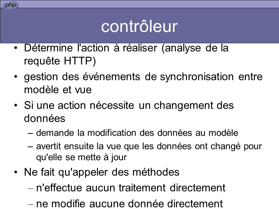 contrôleur Détermine l action à réaliser (analyse de la requête HTTP)