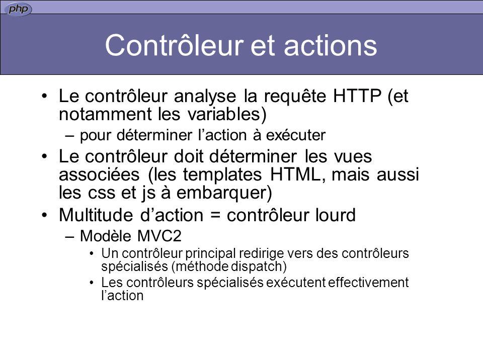 Contrôleur et actions Le contrôleur analyse la requête HTTP (et notamment les variables) pour déterminer l'action à exécuter.