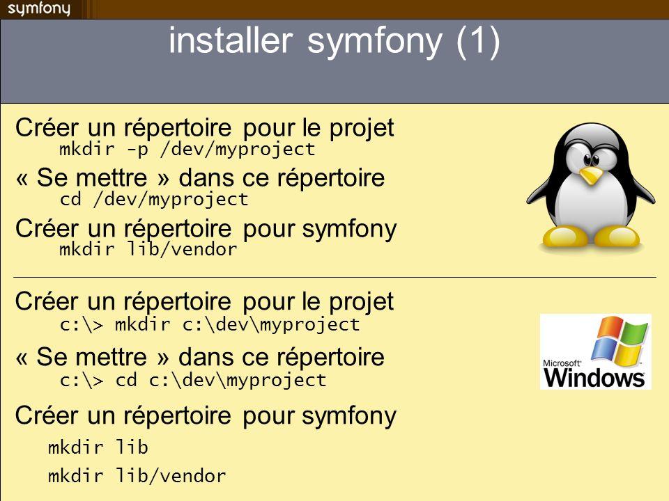 installer symfony (1) Créer un répertoire pour le projet mkdir -p /dev/myproject. « Se mettre » dans ce répertoire cd /dev/myproject.