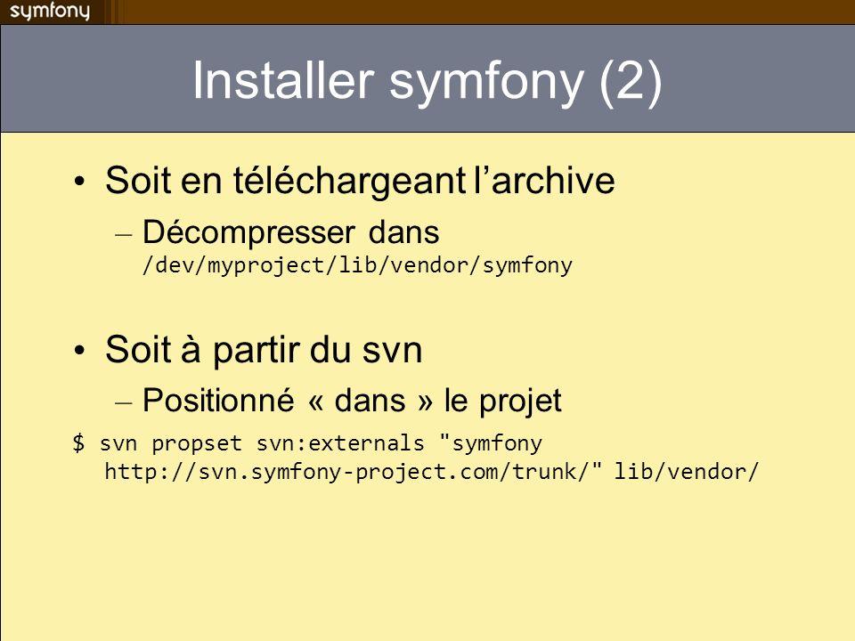 Installer symfony (2) Soit en téléchargeant l'archive