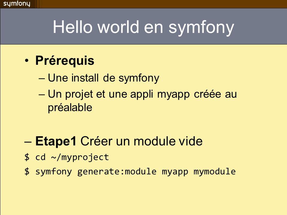 Hello world en symfony Prérequis Etape1 Créer un module vide