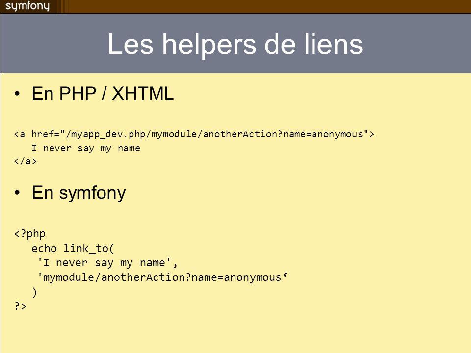 Les helpers de liens En PHP / XHTML En symfony < php echo link_to(