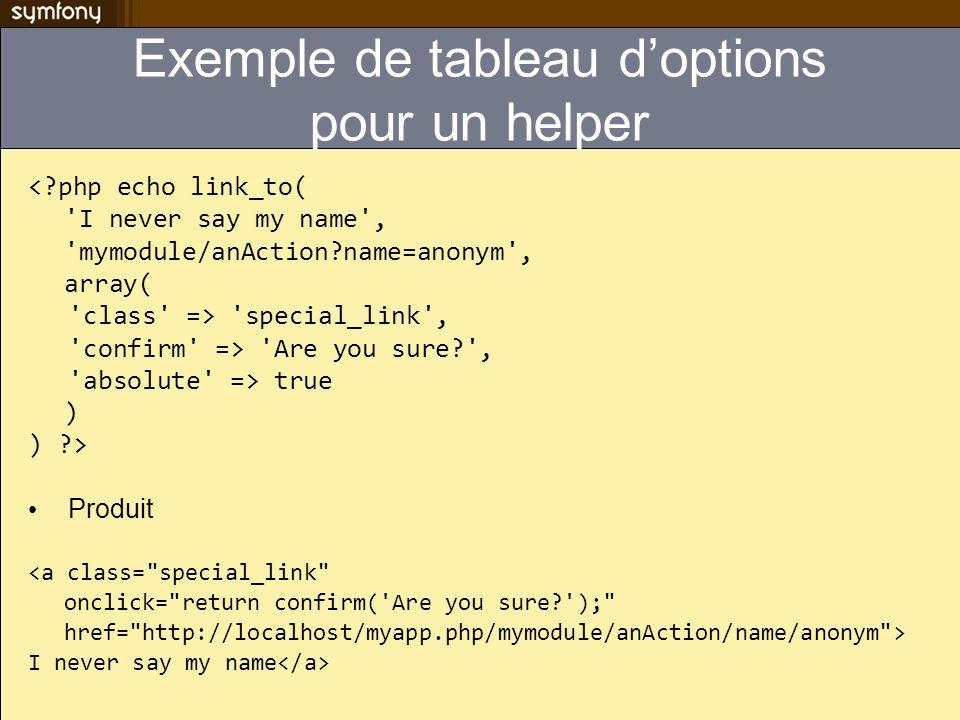 Exemple de tableau d'options pour un helper