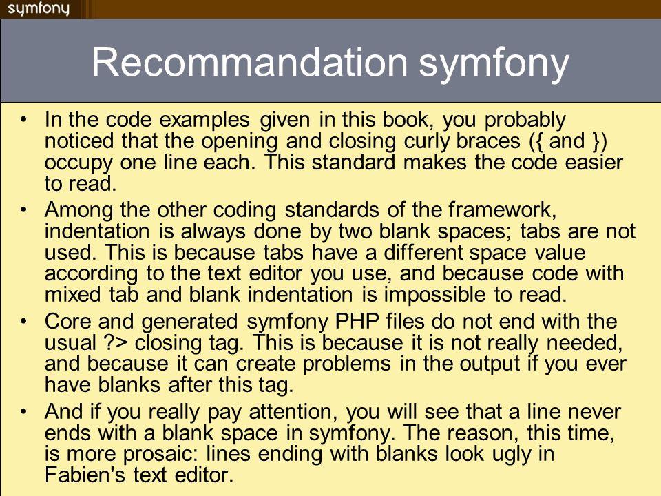 Recommandation symfony