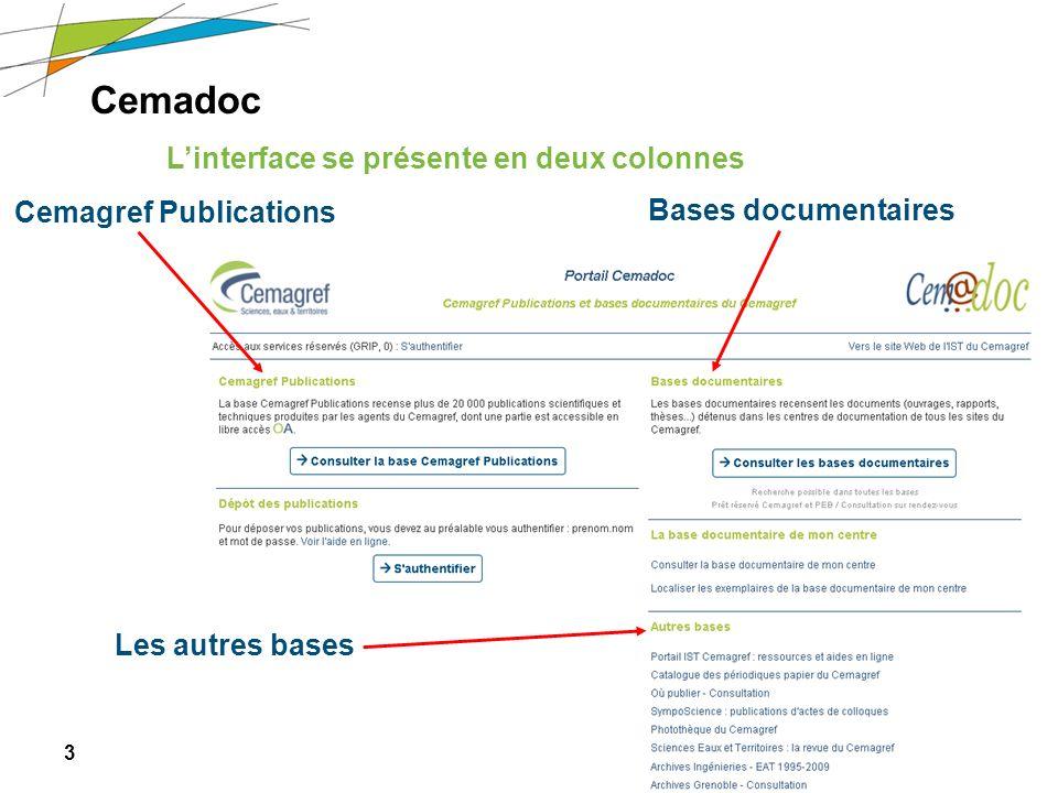 Cemadoc L'interface se présente en deux colonnes Cemagref Publications
