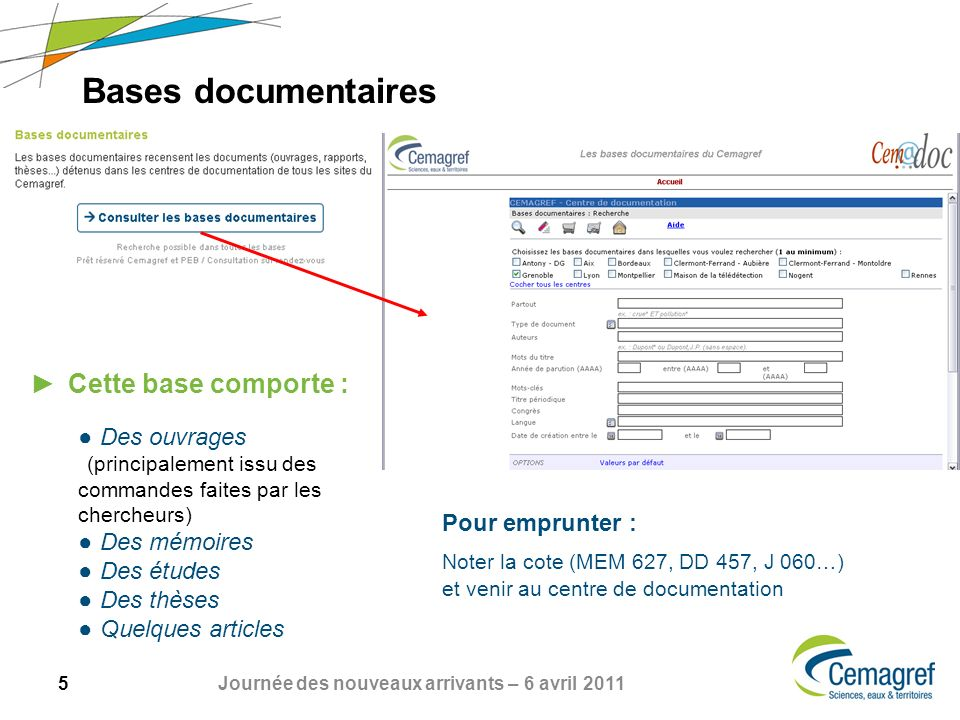 Bases documentaires Cette base comporte :