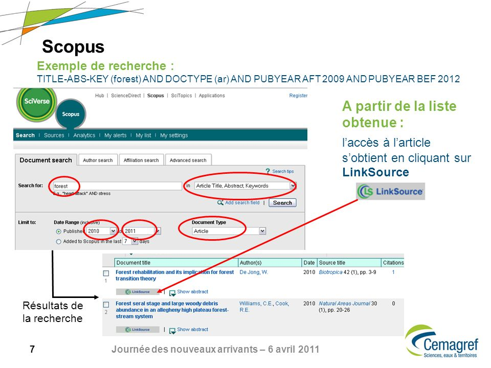 ScopusExemple de recherche : TITLE-ABS-KEY (forest) AND DOCTYPE (ar) AND PUBYEAR AFT 2009 AND PUBYEAR BEF 2012.
